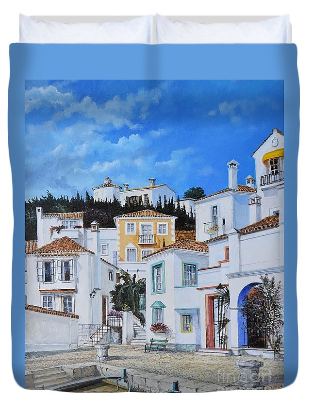City Duvet Cover featuring the painting Afternoon Light In Montenegro by Sinisa Saratlic