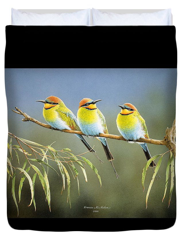 Bird Duvet Cover featuring the painting Afternoon Repose - Rainbow Bee-Eaters by Frances McMahon