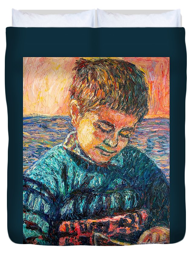 Portrait Duvet Cover featuring the painting Alan Reading by Kendall Kessler