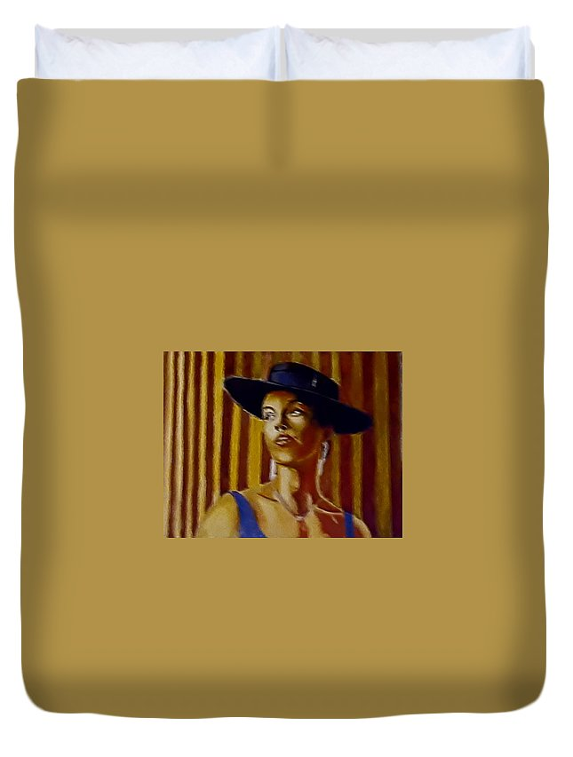 Portrait Duvet Cover featuring the painting Alica by Andrew Johnson
