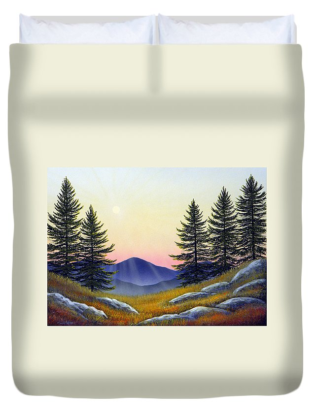 Landscape Duvet Cover featuring the painting Alpine Meadow by Frank Wilson