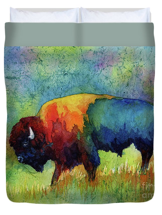 Bison Duvet Cover featuring the painting American Buffalo III by Hailey E Herrera