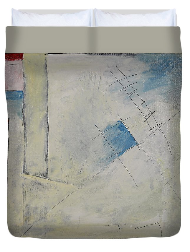 Abstract Duvet Cover featuring the painting Anticipating The Resurgence Of The Liberal Media by Tim Nyberg