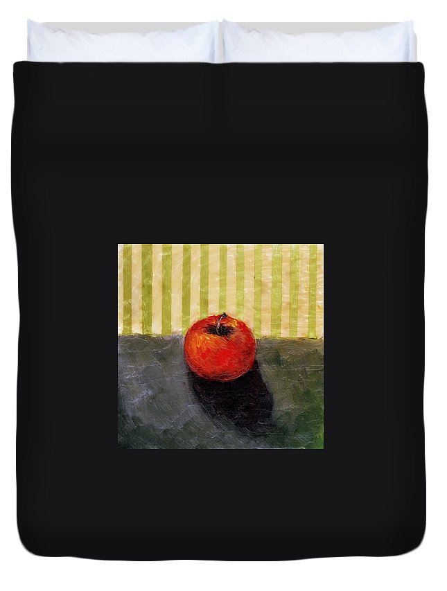 Apple Duvet Cover featuring the painting Apple Still Life with Grey and Olive by Michelle Calkins