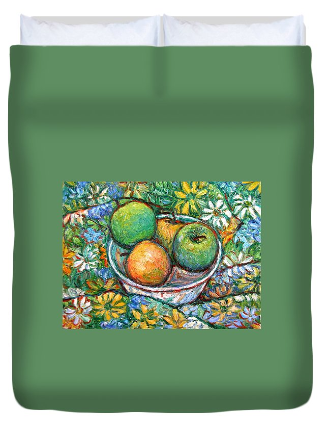 Apples Duvet Cover featuring the painting Apples and Flowers by Kendall Kessler