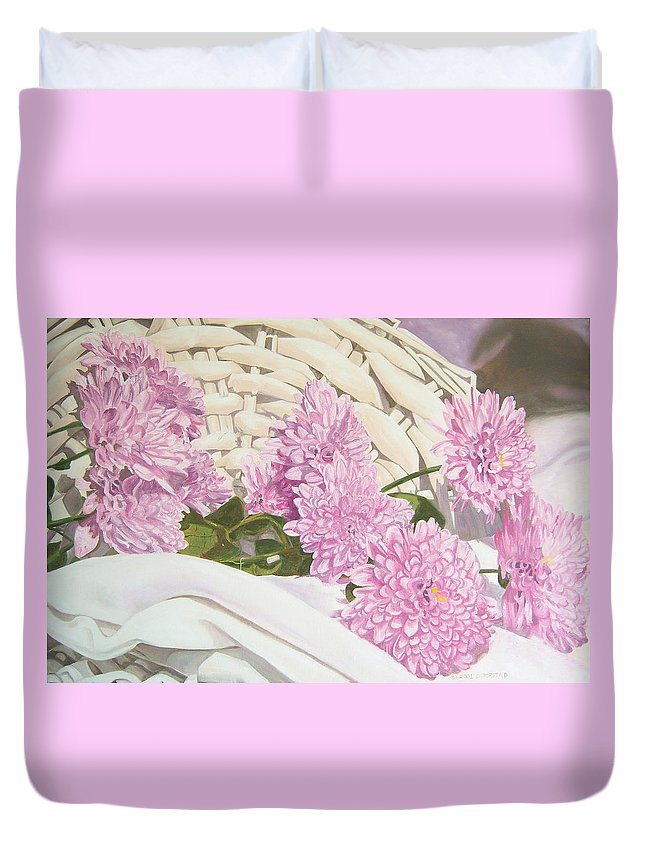 Fine Art Print Duvet Cover featuring the painting Floral Art Print For Sale Still Life Oil Painting by Diane Jorstad