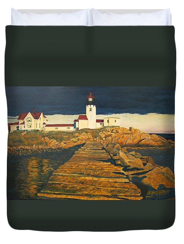 Fine Art Duvet Cover featuring the painting landscape art print oil painting Lighthouse by Diane Jorstad