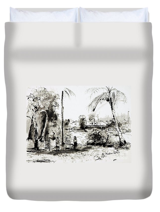Tropical Duvet Cover featuring the painting Artists at work by the Johnstone River Innisfail FNQ  by Kerryn Madsen-Pietsch
