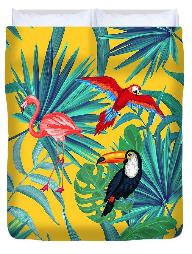 Parrot Duvet Cover featuring the digital art Yellow Tropic by Mark Ashkenazi