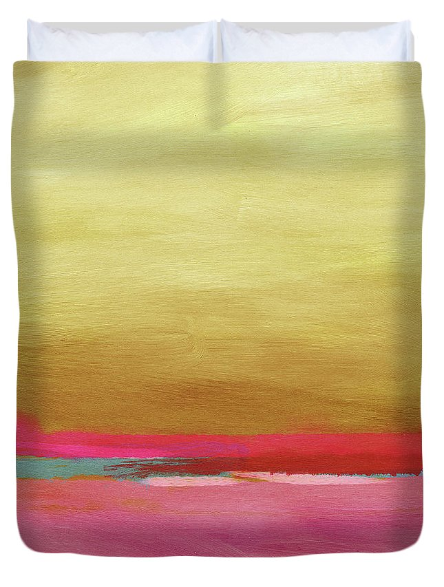 Abstract Duvet Cover featuring the mixed media Windswept Sunrise- Art by Linda Woods by Linda Woods