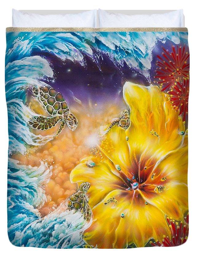 Aloha! Honu Hawaii Art Hibiscus Coral Reefs Flowers Floral Reefs Duvet Cover featuring the painting Wave of the Honu by Joel Salinas III