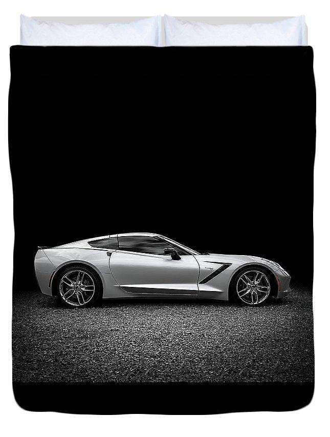 Corvette Duvet Cover featuring the digital art 2014 Corvette Stingray by Douglas Pittman