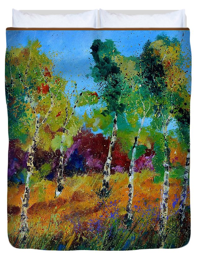 Landscape Duvet Cover featuring the painting Aspen trees in autumn by Pol Ledent