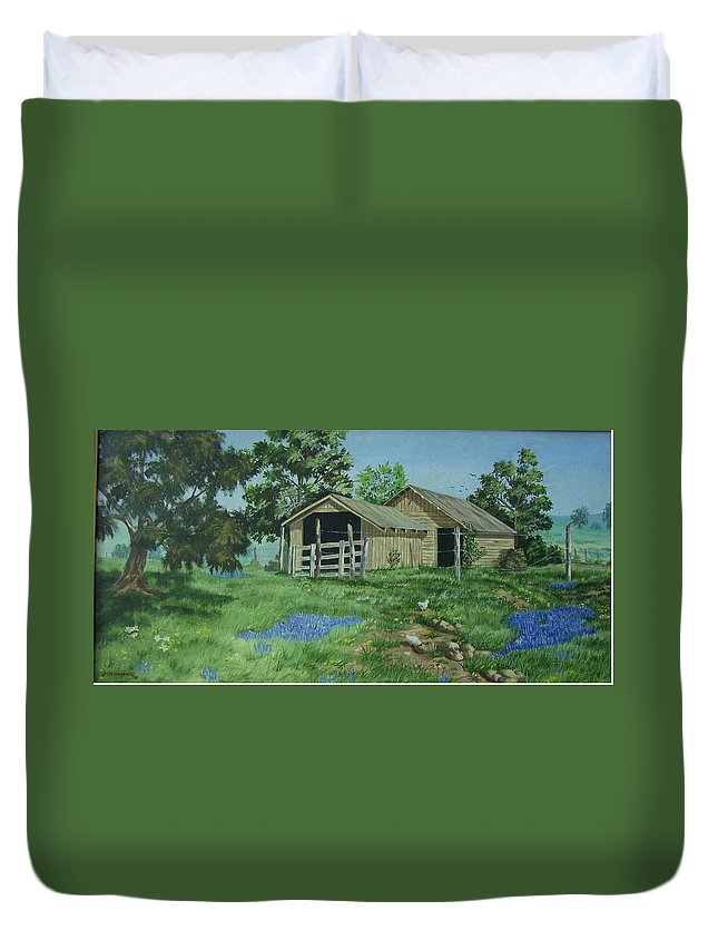Landscape Duvet Cover featuring the painting At the End of a Country Road by Wanda Dansereau