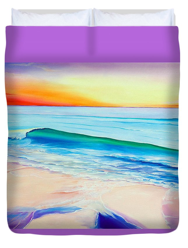 Sunset Painting Sea Painting Beach Painting Sunset Painting  Waves Painting Beach Painting Seaside Painting Seagulls Painting Duvet Cover featuring the painting At the end of a perfect day by Karin Dawn Kelshall- Best