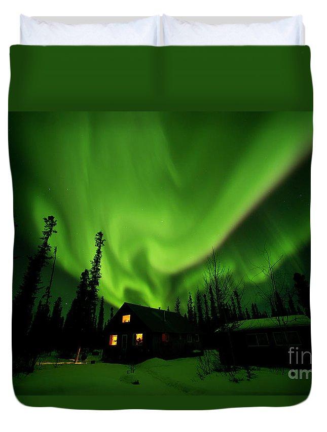 00551581 Duvet Cover featuring the photograph Aurora Borealis Alaska by Michael Quinton
