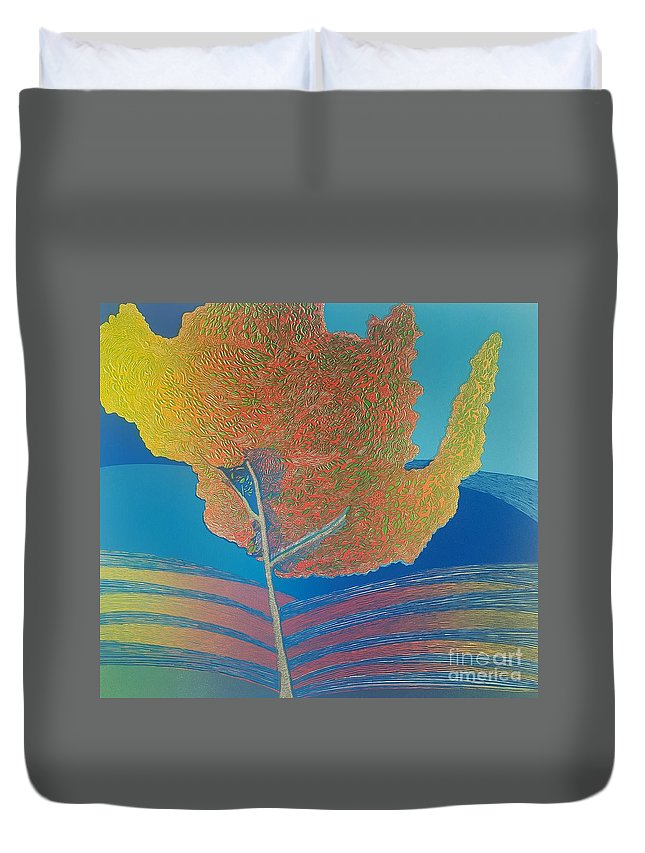 Landscape. Duvet Cover featuring the mixed media Autum timbre. by Jarle Rosseland