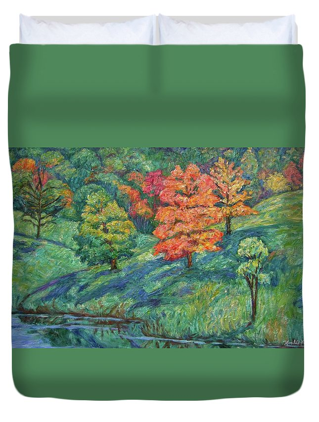 Landscape Duvet Cover featuring the painting Autumn Pond by Kendall Kessler
