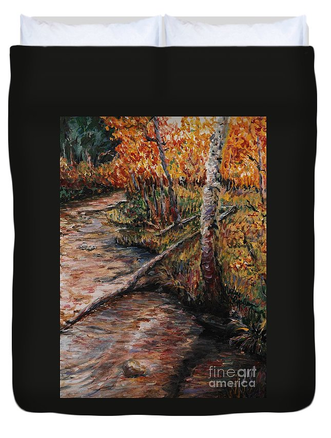 Landscape Duvet Cover featuring the painting Autumn Reflections by Nadine Rippelmeyer