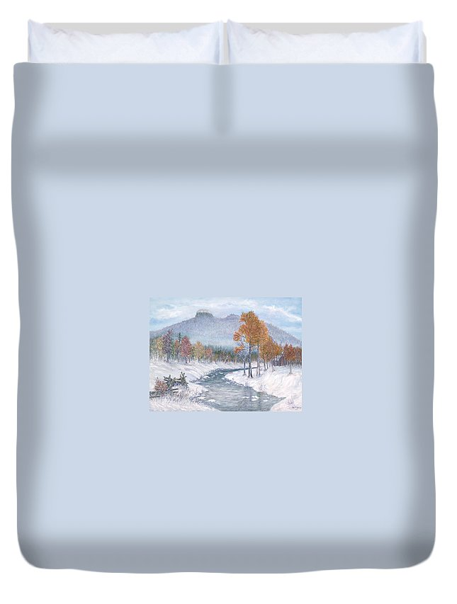 Snow Duvet Cover featuring the painting Autumn Snow by Ben Kiger