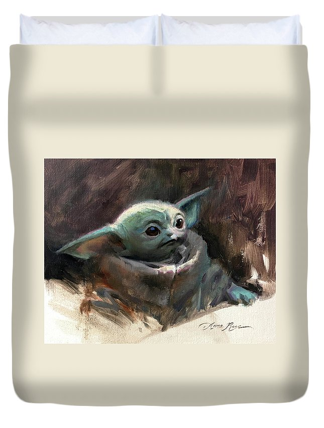 Yoda Duvet Cover featuring the painting Baby Yoda by Anna Rose Bain