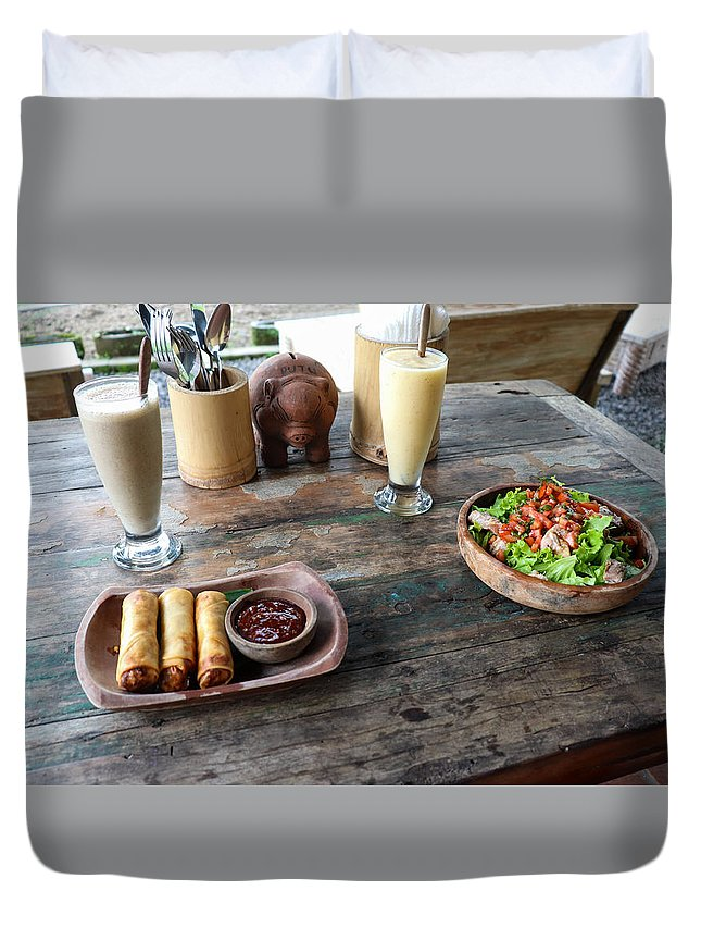 Indonesia Duvet Cover featuring the digital art Balinese dinner by Worldvibes1
