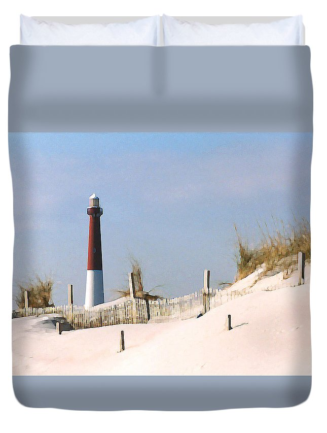 Barnegat Duvet Cover featuring the photograph Barnegat Lighthouse by Steve Karol