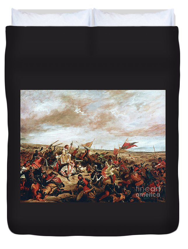 Poitiers Duvet Cover featuring the painting Battle of Poitiers on September 19, 1356 by Ferdinand Victor Eugene Delacroix