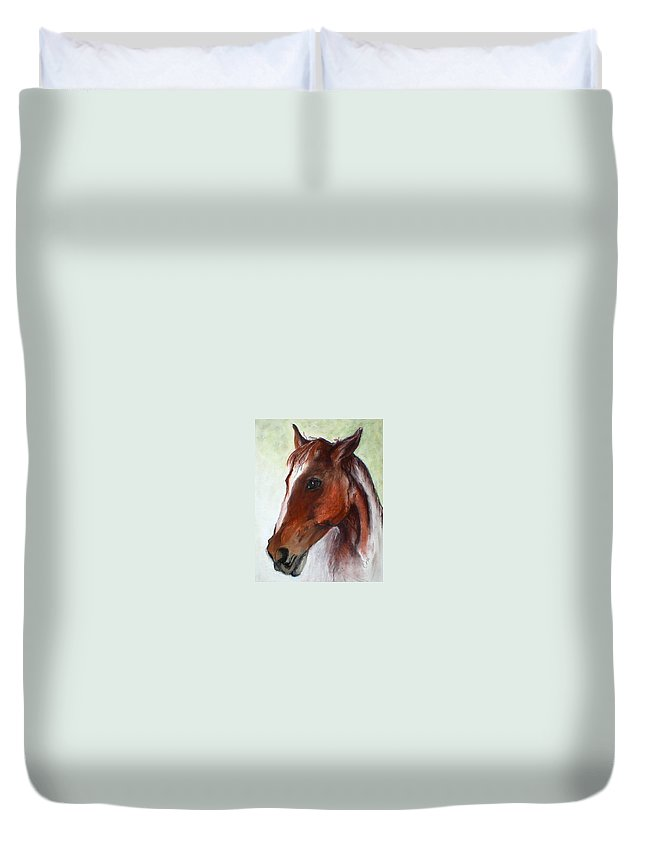 Horse Duvet Cover featuring the drawing Becky by Cori Solomon