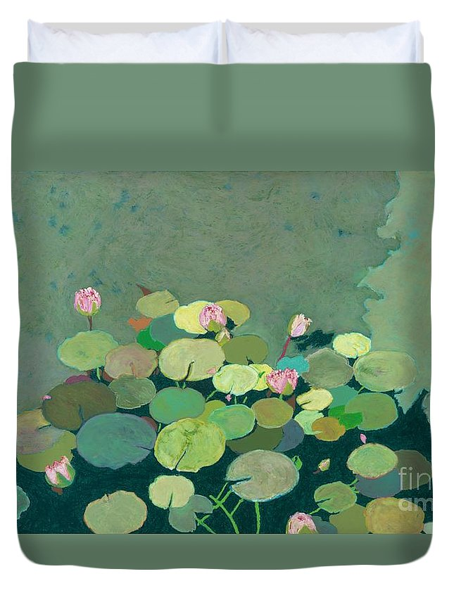 Landscape Duvet Cover featuring the painting Bettys Serenity Pond by Allan P Friedlander