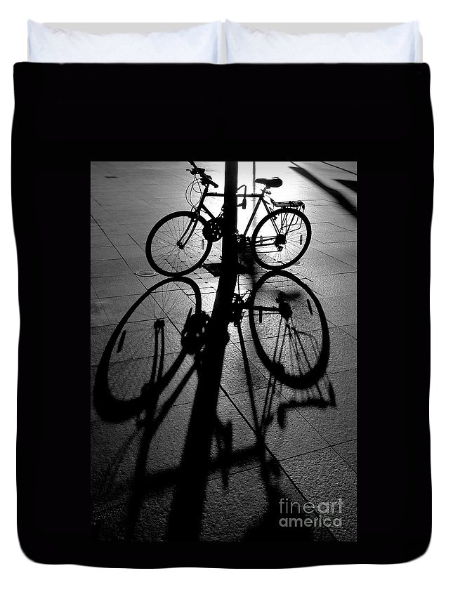 Bicycle Duvet Cover featuring the photograph Bicycle shadow by Sheila Smart Fine Art Photography