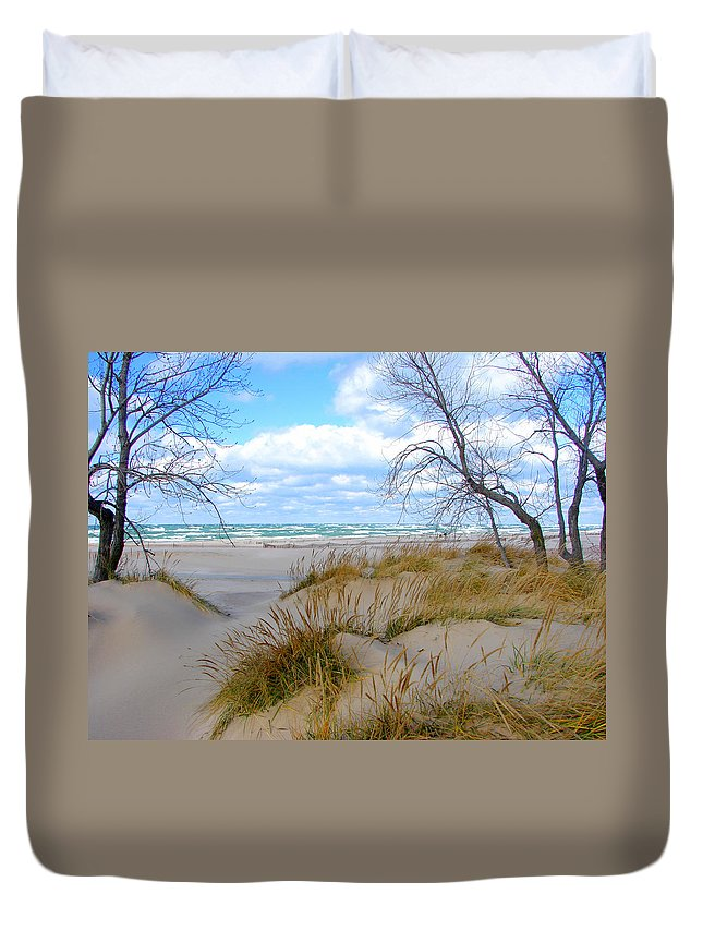 Trees Duvet Cover featuring the photograph Big Waves on Lake Michigan by Michelle Calkins