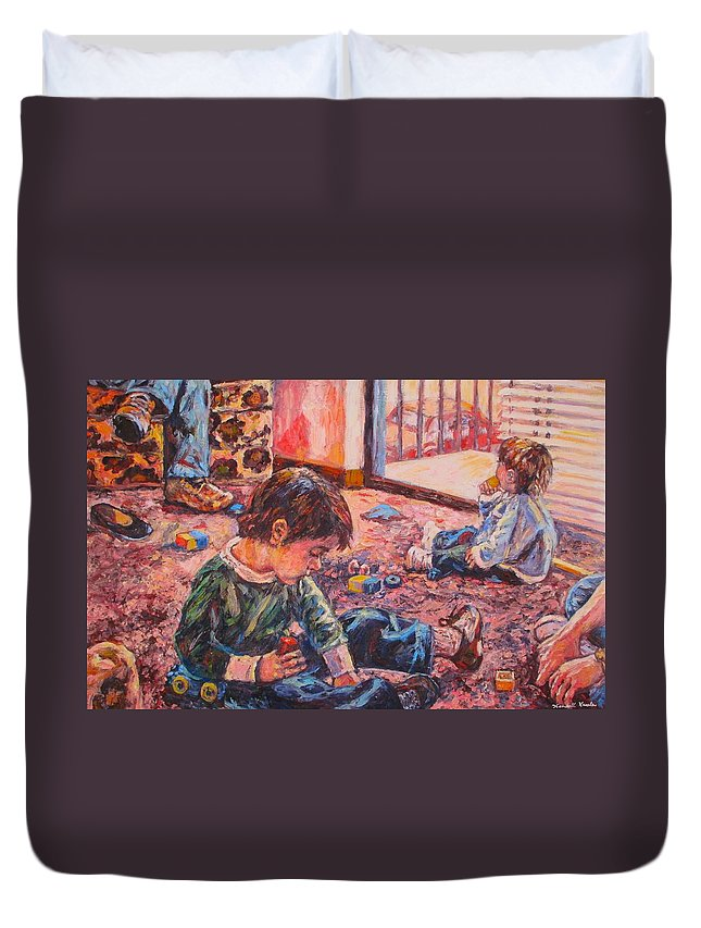 Figure Duvet Cover featuring the painting Birthday Party or a Childs View by Kendall Kessler