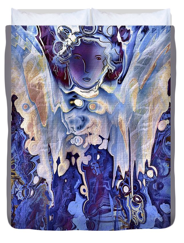 Angels Duvet Cover featuring the painting Blue Angel by Natalie Holland