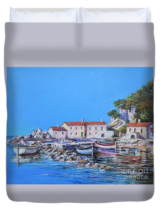 Original Painting Duvet Cover featuring the painting Blue Bay by Sinisa Saratlic
