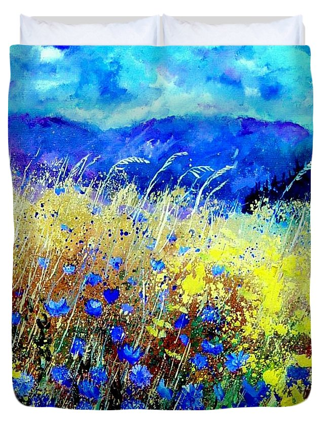 Poppies Duvet Cover featuring the painting Blue cornflowers 67 by Pol Ledent