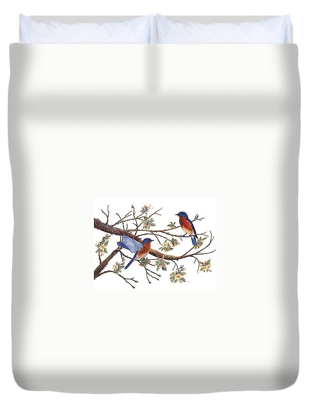Bluebirds Duvet Cover featuring the painting Bluebirds And Apple Blossoms by Ben Kiger