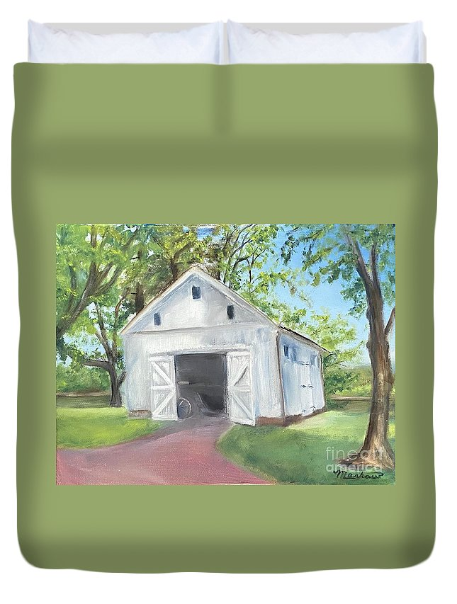 Washington Crossing Duvet Cover featuring the painting Boat Barn by Sheila Mashaw