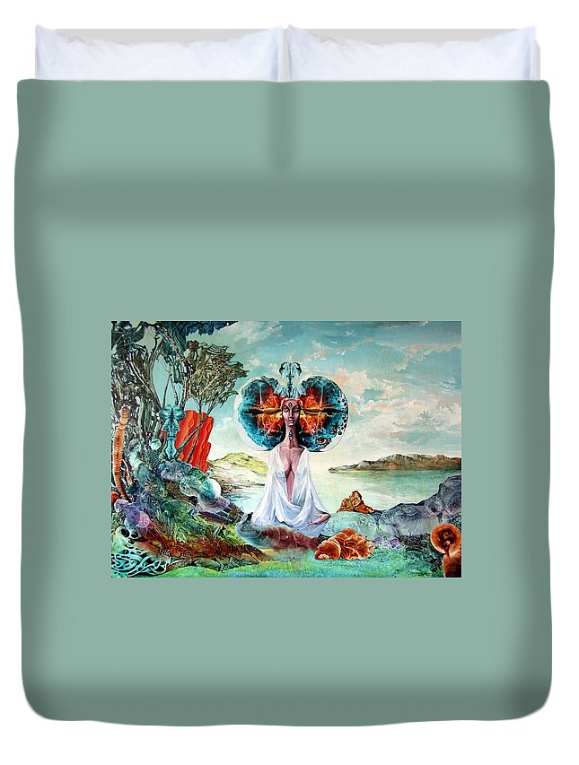 Surrealism Duvet Cover featuring the painting Bogomils Landing by Otto Rapp
