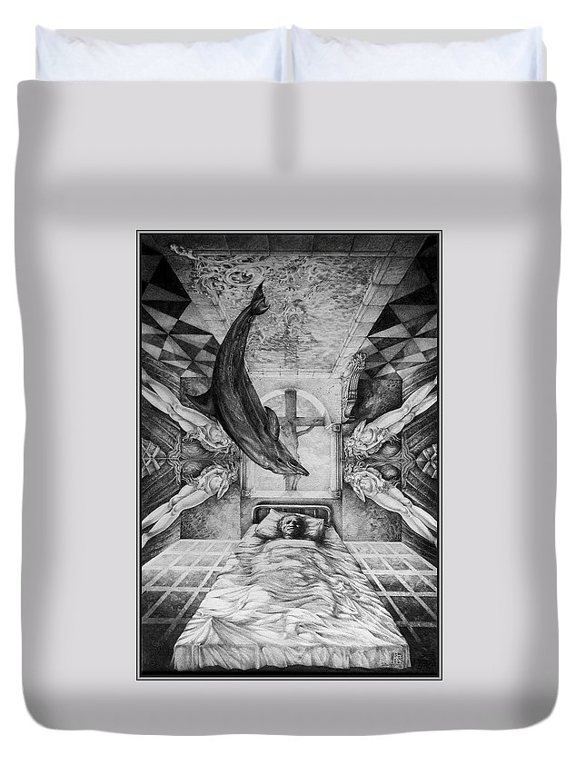 Surrealism Duvet Cover featuring the drawing Botticellis Dream by Otto Rapp