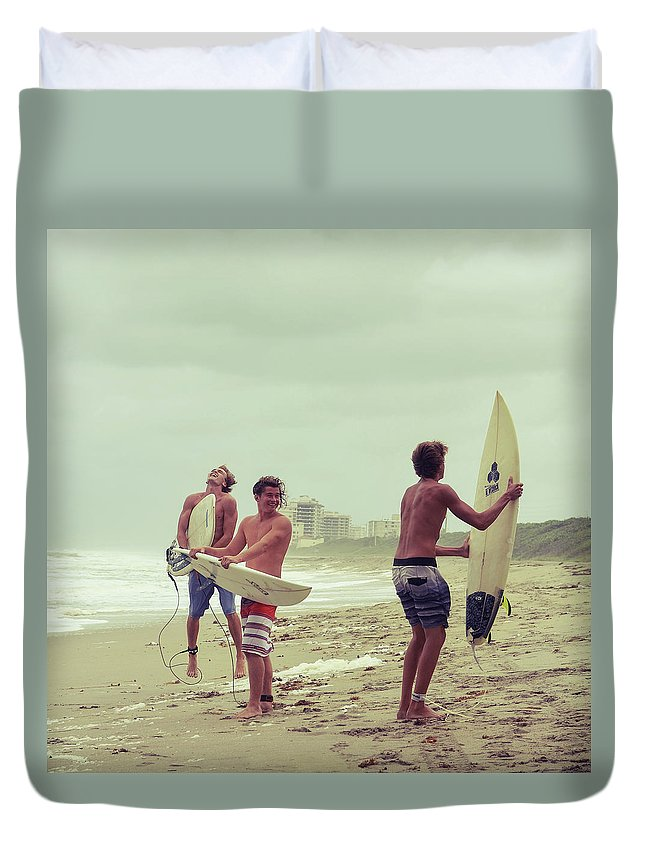 Surfer Duvet Cover featuring the photograph Boys Of Summer by Laura Fasulo