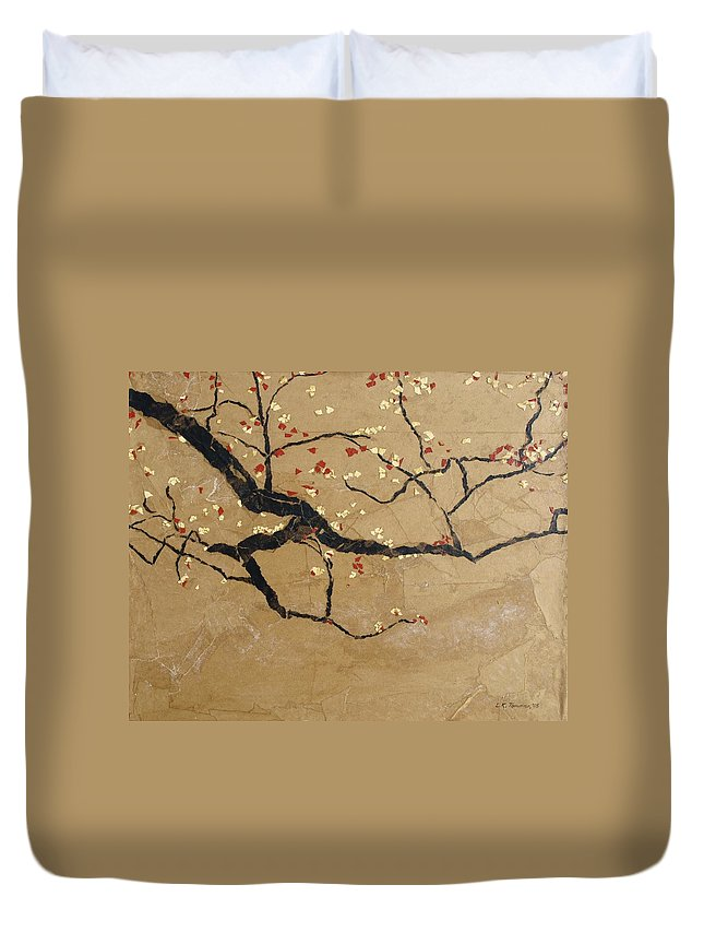 Blooming Branch Duvet Cover featuring the painting Branch by Leah Tomaino