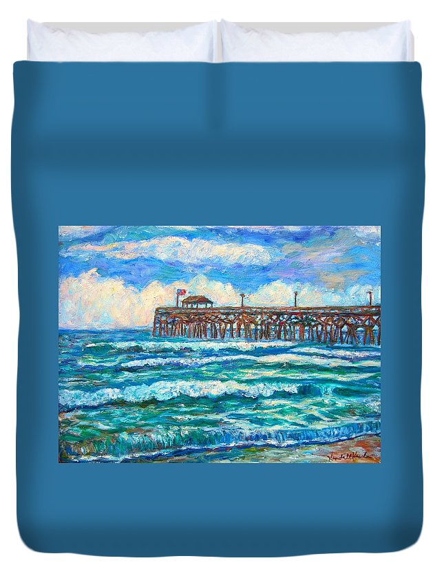 Shore Scenes Duvet Cover featuring the painting Breakers at Pawleys Island by Kendall Kessler