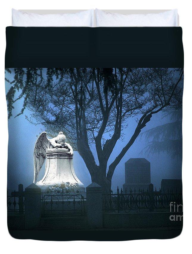 Guardian Duvet Cover featuring the photograph Broken Angel by Peter Piatt