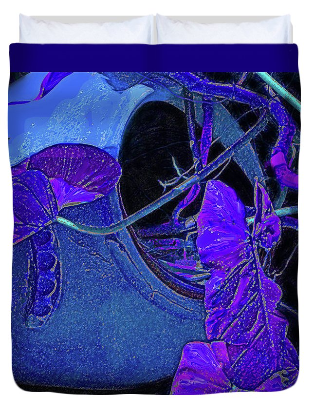 Purple Duvet Cover featuring the photograph Broken Vase by Ian MacDonald