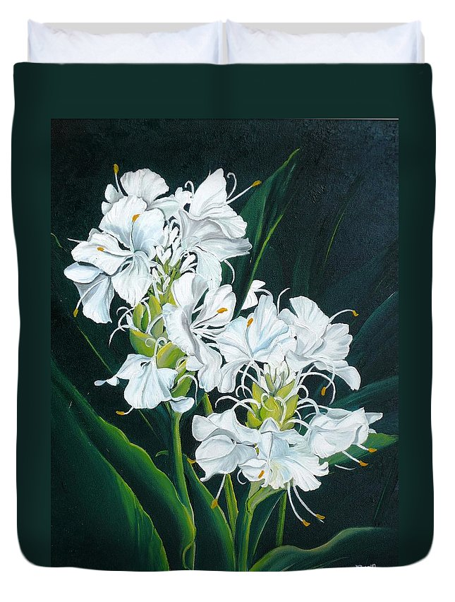 Caribbean Painting Butterfly Ginger Painting Floral Painting Botanical Painting Flower Painting Water Ginger Painting Or Water Ginger Tropical Lily Painting Original Oil Painting Trinidad And  Tobago Painting Tropical Painting Lily Painting White Flower Painting Duvet Cover featuring the painting Butterfly Ginger by Karin Dawn Kelshall- Best