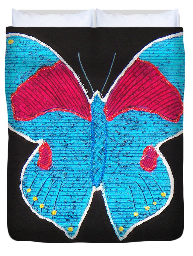 Drawing Duvet Cover featuring the mixed media Butterfly by Sergey Bezhinets