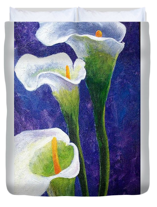 Lilites Duvet Cover featuring the painting Cala In Purple by Tami Booher