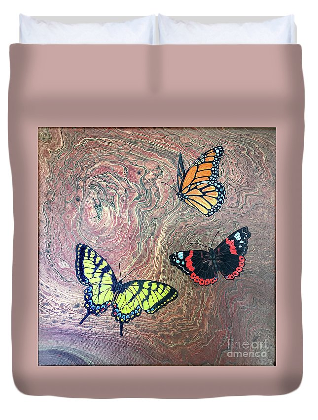 Butterflies Duvet Cover featuring the painting California Butterflies by Lucy Arnold