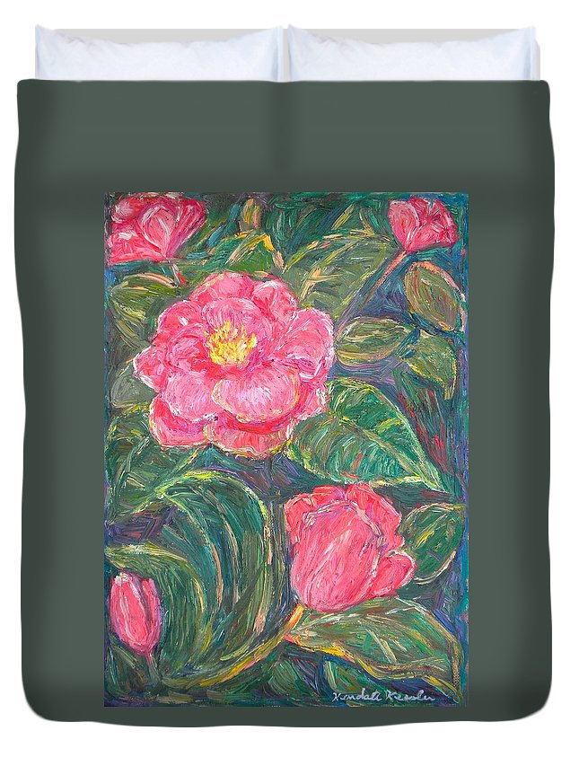 Impressionism Duvet Cover featuring the painting Camelias by Kendall Kessler